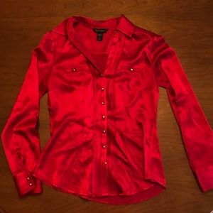 Red silk button blouse